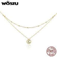 قلادة WOSTU الأكثر مبيعاً لعام 100% مصنوعة من الفضة الإسترلينية والذهب متوفرة بأشكال القمر في الشمس تصلح كهدية لأعياد الميلاد للسيدات CQN305