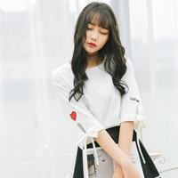 2019 Korea Spring Xia Pure Cotton Women's T Shirt Women Love Embroidery T Pity Sleeve Jacket Tshirt T shirt Casual