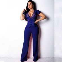 MUXU blue lace bodysuit jumpsuit sexy rompers transparent jumpsuits combinaison femme body mujer one piece deep v neck playsuits
