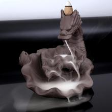 Dragon Backflow Incense Burner Smoke Waterfall Holder Purple Sand Ceramic Censer Aromatherapy Furnace