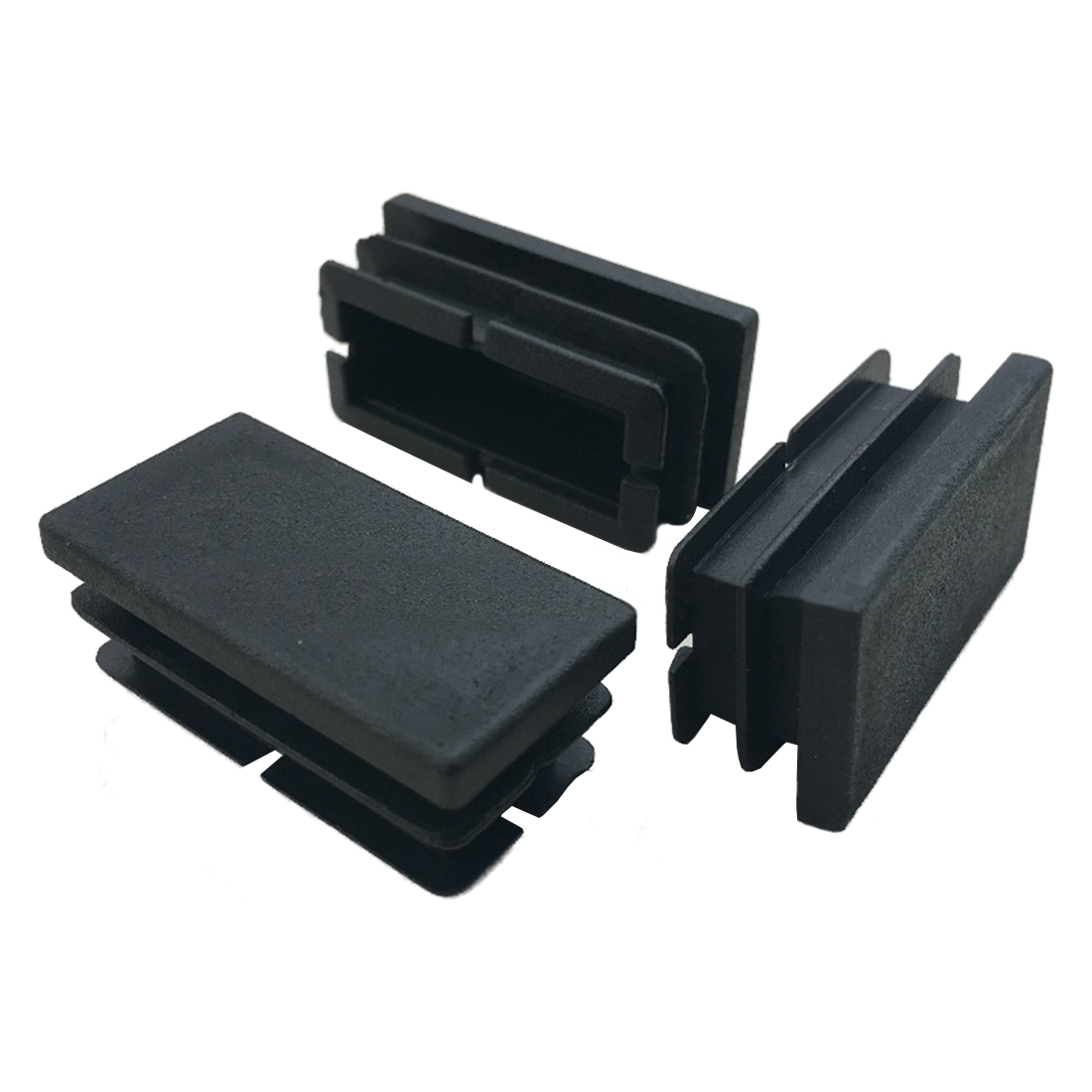 Promotion! 8 Pcs Black Plastic Rectangular Blanking End Caps Inserts 20mm X 40mm Plastic Ribbed For  Assembly And Secure Fitting