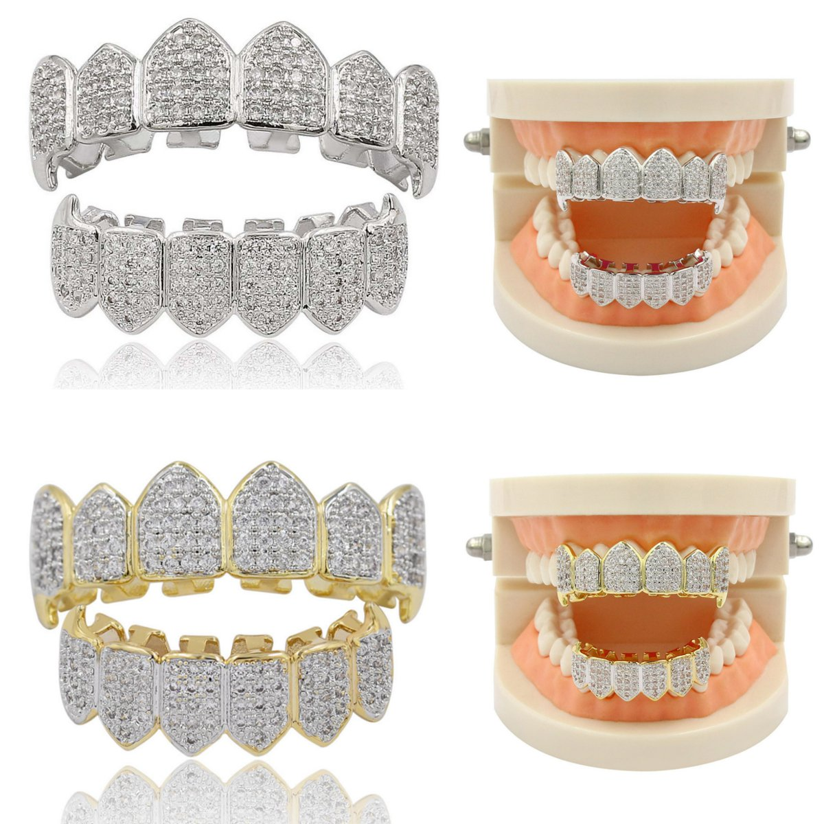 Hip Hop Gold Silver Teeth Grillz Top Bottom Grills Dental Mouth Punk Teeth Caps Cosplay Party Tooth Rapper Jewelry Gift image