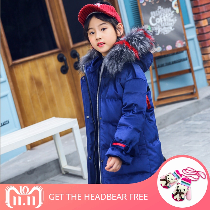 IYEAL Fashion Hooded Large Fur Collar Winter Down Coat Long Jacket Kids Girls Warm Down Parkas Children Thicken Outerwear 4-12T