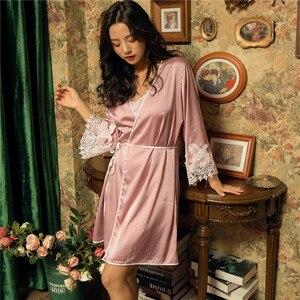 Image 5 - Damska suknia i suknia ustawia kwiat satynowa bielizna nocna kobiet Sexy jedwabne koronki panie szata zestaw jedwabiu snu salon szata elegancka koszula nocna