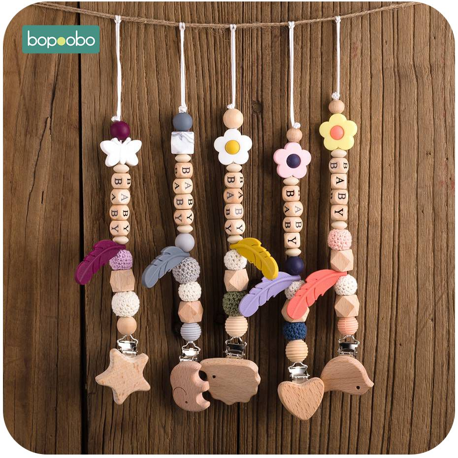 Bopoobo 1PC Food Grade Wooden Teething Animal Modeling Pacifier Chain Children Training Toys  Baby Wooden Teethers DIY Crafts