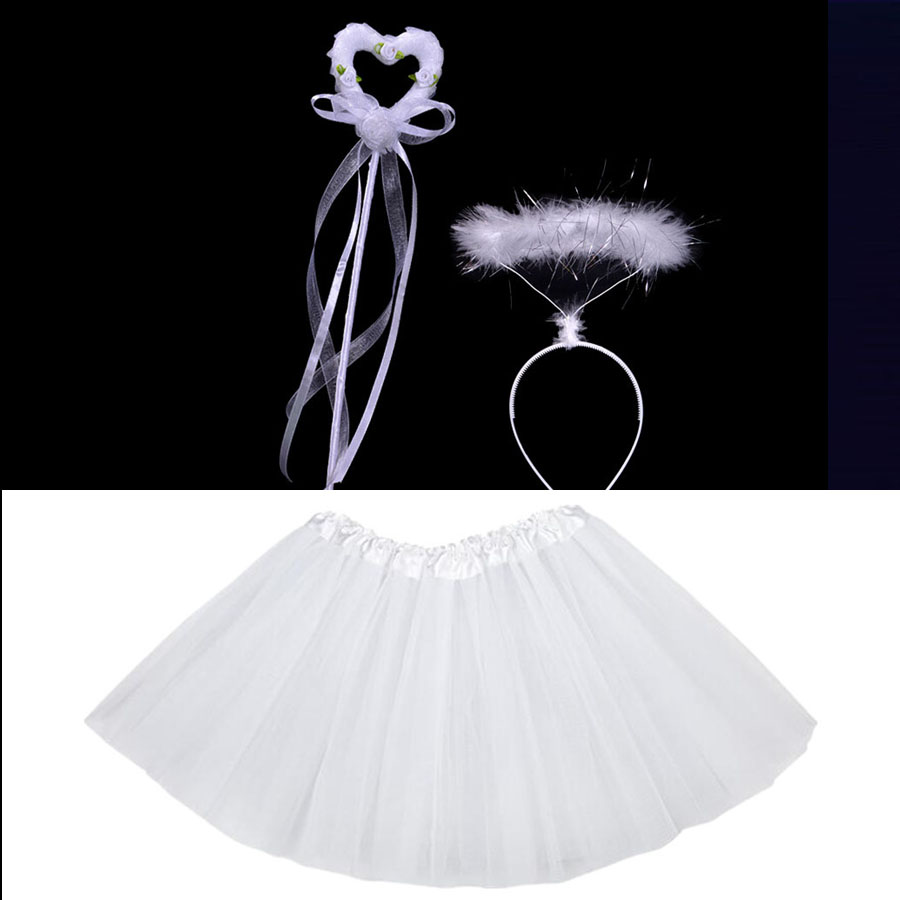 Kids Children Girl Angel Headband Tutu Skirt Set Accessories Princess Cosplay Birthday Party Props Halloween Costume Christmas