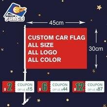 Оригинальный Автомобильный флаг 30X45 см двусторонняя полиэстер летающие Декоративный принт флаги и растяжки с 50 см Пластиковый флагшток Лидер продаж