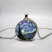 Van Gogh retro oil painting glass necklace handmade family photo jewelry custom gift works
