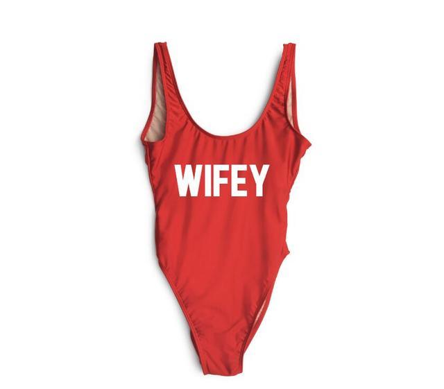 227efdc57361b WIFEY Funny Letters One Piece Swimsuits Women Sexy Monokini Bathing Suit  Swim Suits Ladies Swimwear Jumpsuits Costume