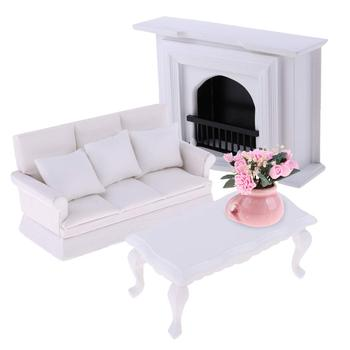 1:12 Scale Dollhouse Furniture Fireplace Table Sofa Miniature Living Room Doll House Accessories Toys Gift for Children Kids