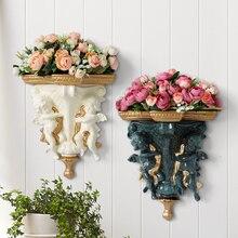Decorative hanging wall vases artificial Flowers European Creative resin Angel vase home Mural basket decorations