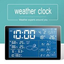 디지털 알람 시계 컬러 예보 무선 블루투스 날씨 역 기압계 야외 예보 센서 알람 시계