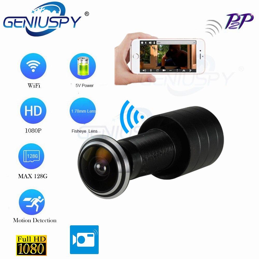 Porta Eye Buraco Segurança 1080 P HD H.264 1.78 milímetros Lente Grande Angular FishEye CCTV Rede Mini Olho Mágico Da Porta Wi-fi P Câmera P2P Cartão TF