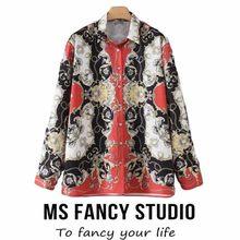 62d83e1b126251 2018 Autumn Winter Women Loose Geometric Printing Shirt Long Sleeve Silk  Scarf Casual Draped Luxury Regular Blouse
