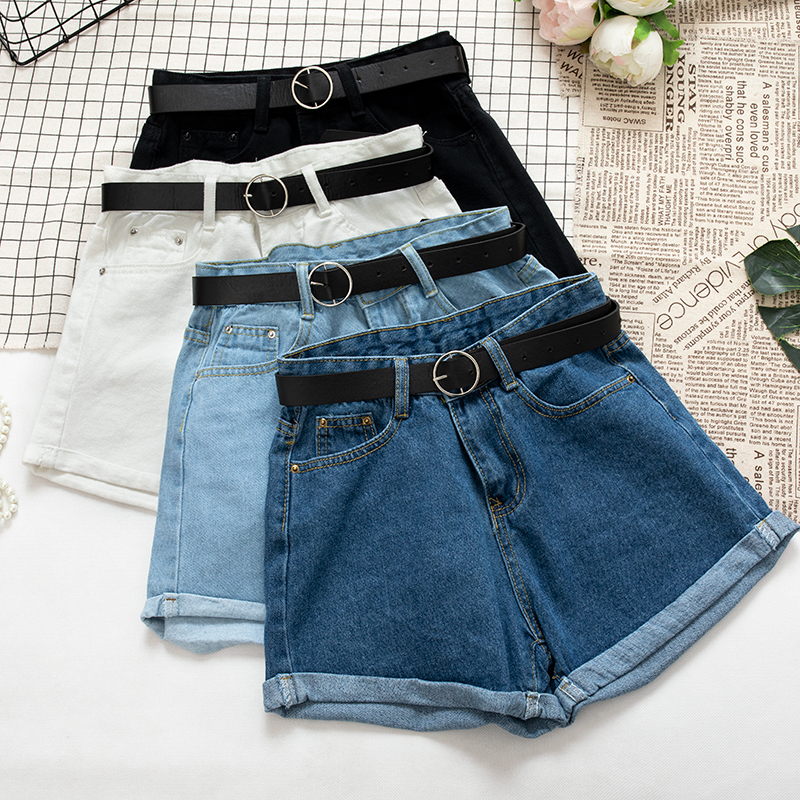 Denim   Shorts   Student Cowboy High Waist With Sashes Zipper Fly Wide Leg   Shorts   Blue Black White Bottoms