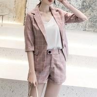 Taotrees Summer Plaid Short Suits for Women Stylish Blazer & Hot Shorts Female Pant Suit Casual 2 Piece Set