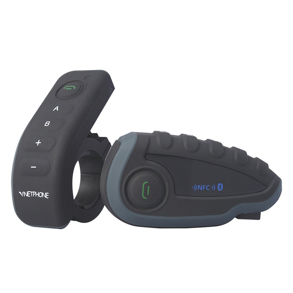 Vnetphone-V8 casque de moto Interphone Bluetooth étanche Interphone casque télécommande guidon avec FM NF