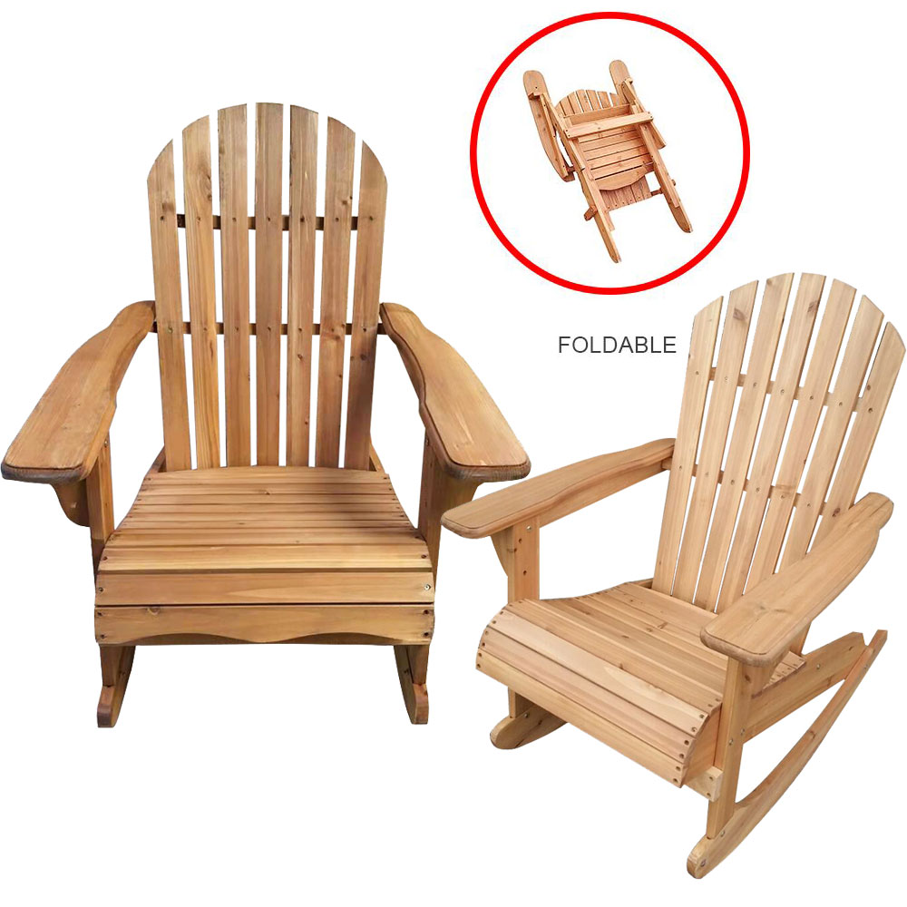 Panana Garden / Patio Rocking Chair/Foldable Wooden Adirondack Chair Natural Finish Solid Wood Swing Chair