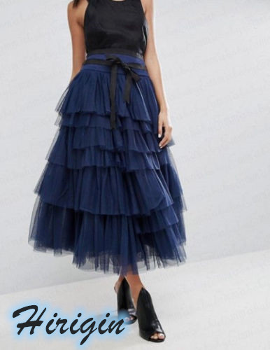 Summer Skirts 2019 New Women Tulle Long Maxi Skirt Layered Swing High Waist Casual Solid Lace Loose Skirts in Skirts from Women 39 s Clothing