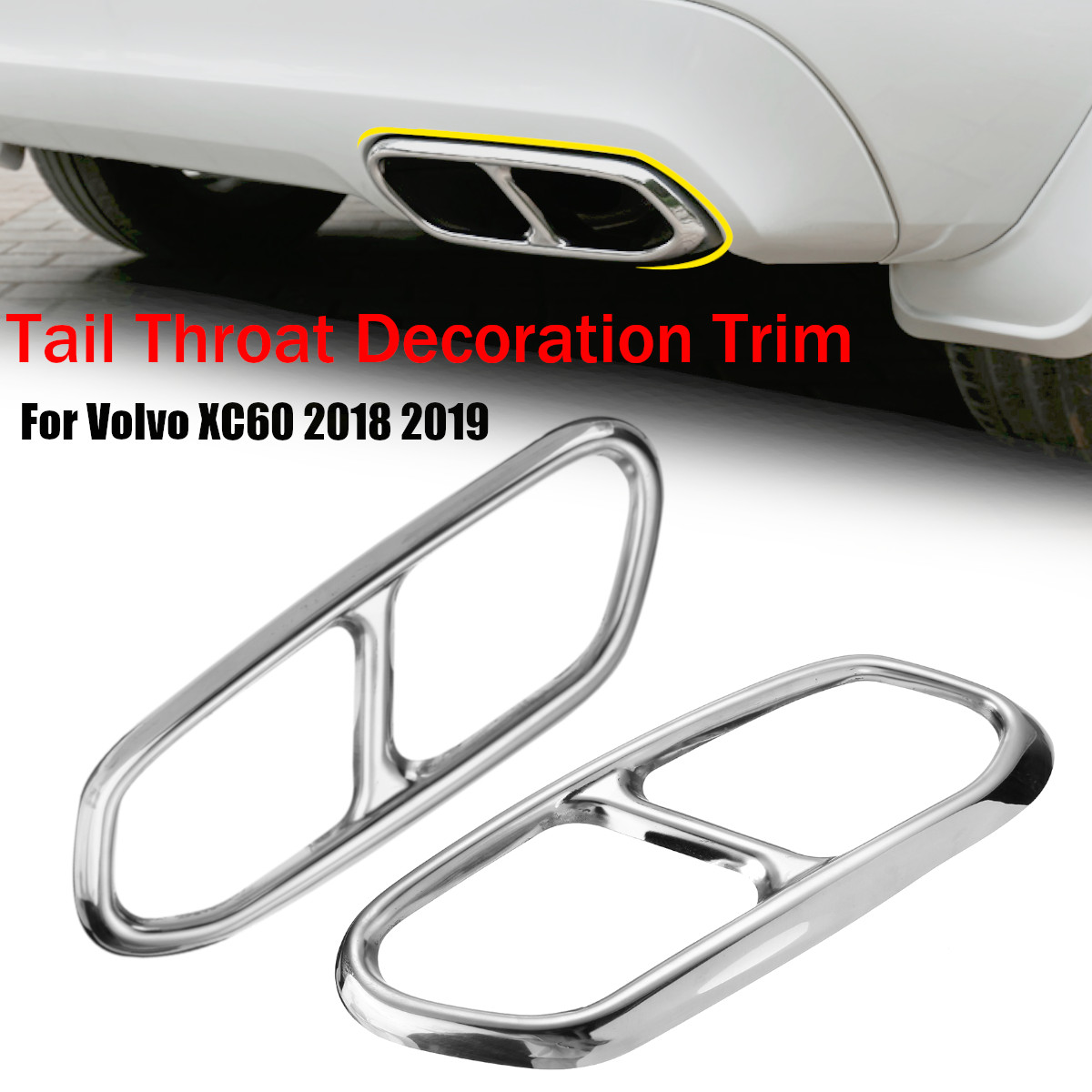 2X Car Rear Exhaust Pipe Decoration Muffler Tail Throat Cover Cap Sticker For Volvo XC60 2018 2019-in Chromium Styling from Automobiles & Motorcycles