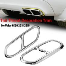 2X decoración de tubo de escape trasero para coche, silenciador, cubierta de garganta trasera, pegatina para Volvo XC60 2018 2019