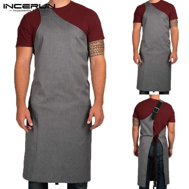 NEW Adjustable Working Striped Apron Fashion Women Men Apron One-shoulder Sexy Kitchen Cooking Baking Restaurant Apron Garments