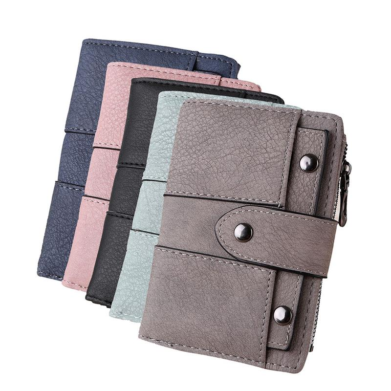 Wallet Women Vintage Fashion Short Trifold Wallet Rivet Buckle Leather Purse Female Money Bag Small Zipper Coin Pocket Brand Hot