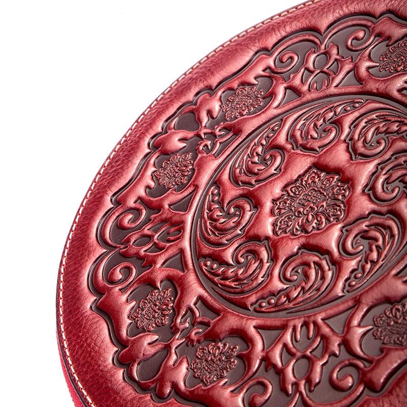 Saco de couro crossbody senhora pequenos sacos redondos retro estilo chinês saco do mensageiro portátil um ombro cilindro bolsa pele vaca - 5