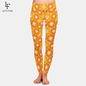 Leggings con estampado de naranja 3D para mujer con estampado de frutas de alta calidad de seda de leche de talla grande