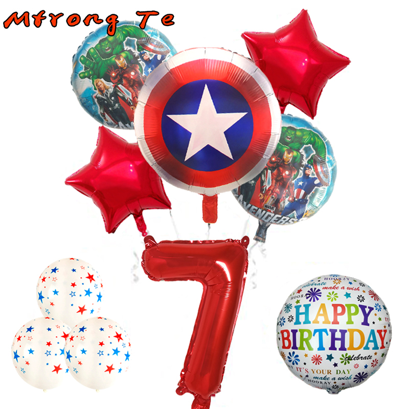10pcs Hulk The Avengers Foil Balloons 18 Inch Round Super Hero Helium Balloon 30 Number Set Kid Toys Birthday Party Decor