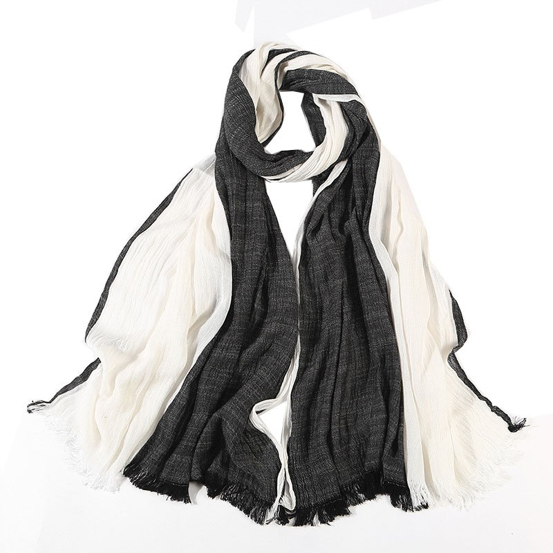 Black And White Scarf For Women Men Long Large Soft Two Tone Scarves Wraps Foulard Cotton Linen Neck Scarf Wrap 195x65