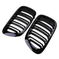 For BMW E46 1998 2001 1 Pair 2 Door 2D Gloss Black Dual Slat Kidney Grille Grill replacement accessories parts