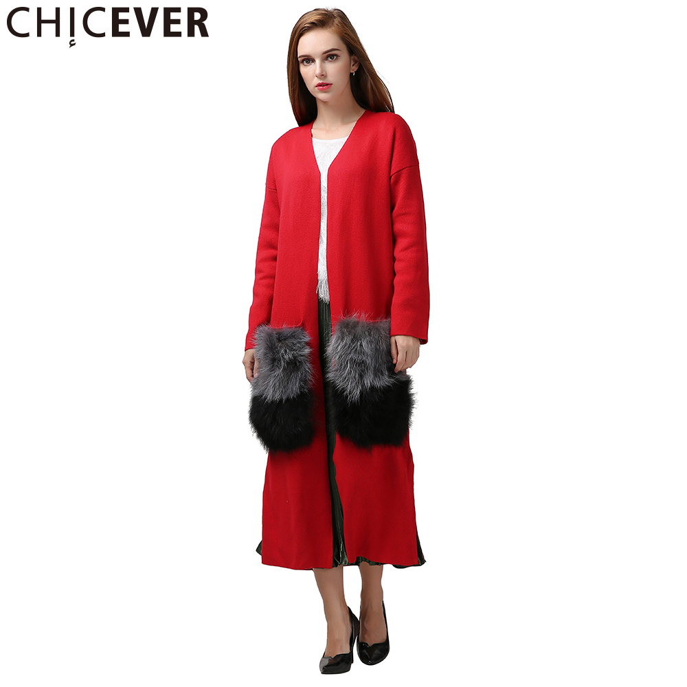CHICEVER Winter Knitting   Trench   Female Coat Women's Windbreaker Attachable Natural Fur Pockets Cardigan Basic Overcoat Clothing
