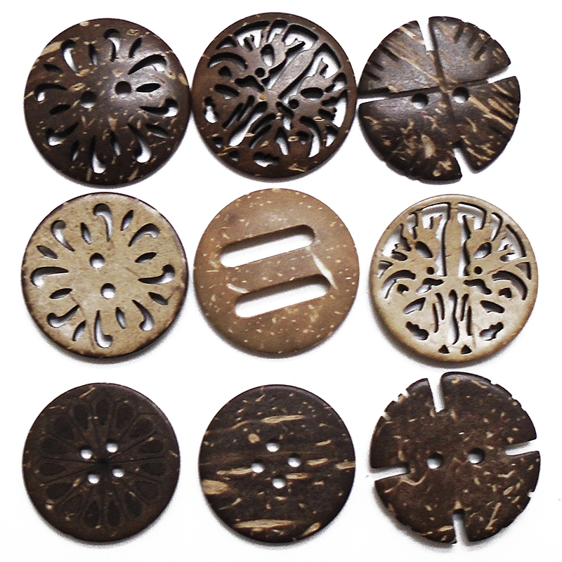 ZIEENE 5PCs 10PCs 20PCs Natural Color Big Buckle Coconut Shell Buttons Sewing Scrapbooking For Handmade Round Button 2 Holes