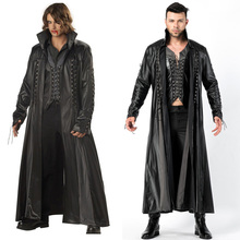 Halloween Deluxe Man Medieval Vampire Count PU Leather Fantasia Fancy Dress High Quality Costume