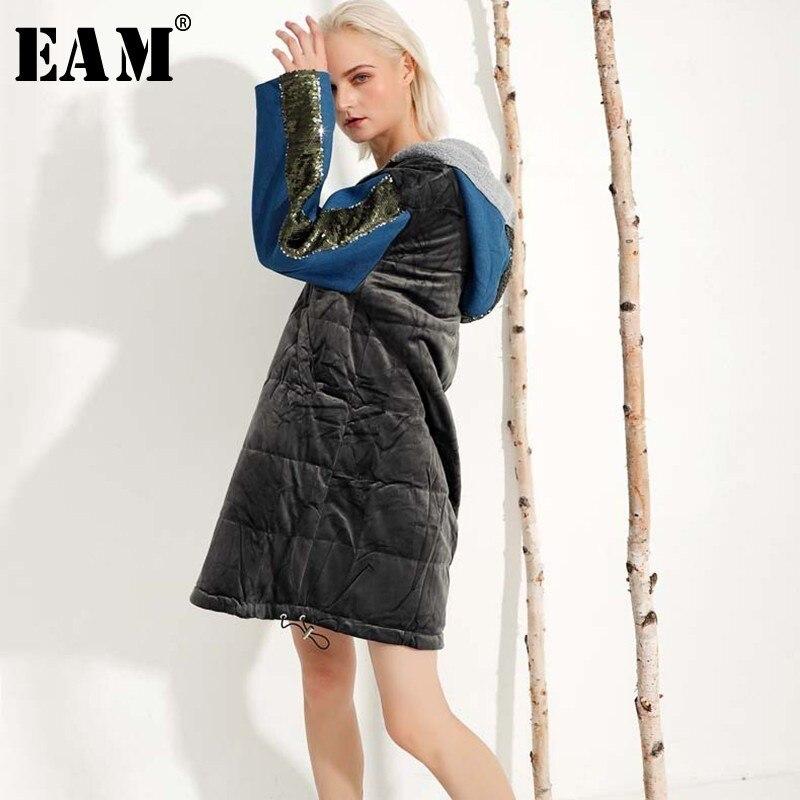 [EAM] 2019 New Spring Winter Hooded Long Sleeve Sequins Velevt Split Joint Warm Cotton-padded Coat Women   Parkas   Fashion JL089