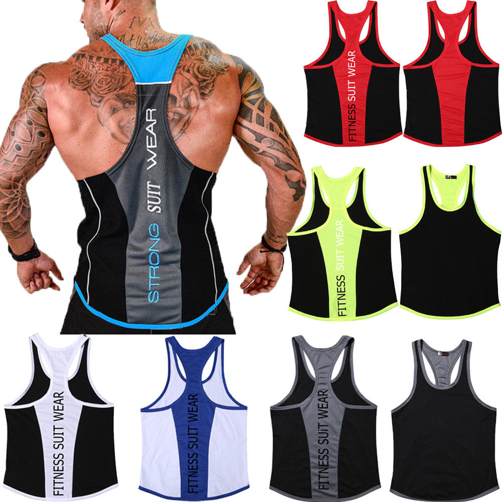 Men's Stringer Bodybuilding Y-Back Muscle Fit Gym Tank Top Workout Fitness Running Vest