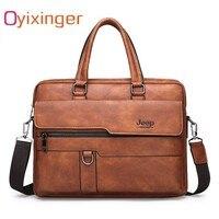 Oyixinger Mens Briefcase Bags Business Leather Bag Men Shoulder Messenger Bags Male Handbag Laptops Bag Bolso Hombre Sac Homme