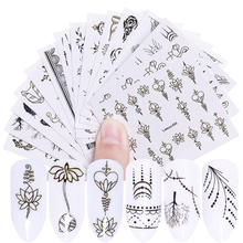 LEMOOC 15 Sheets Black Nail Art Water Decals Transfer Stickers Feather Necklace Fingernail DIY Decorations