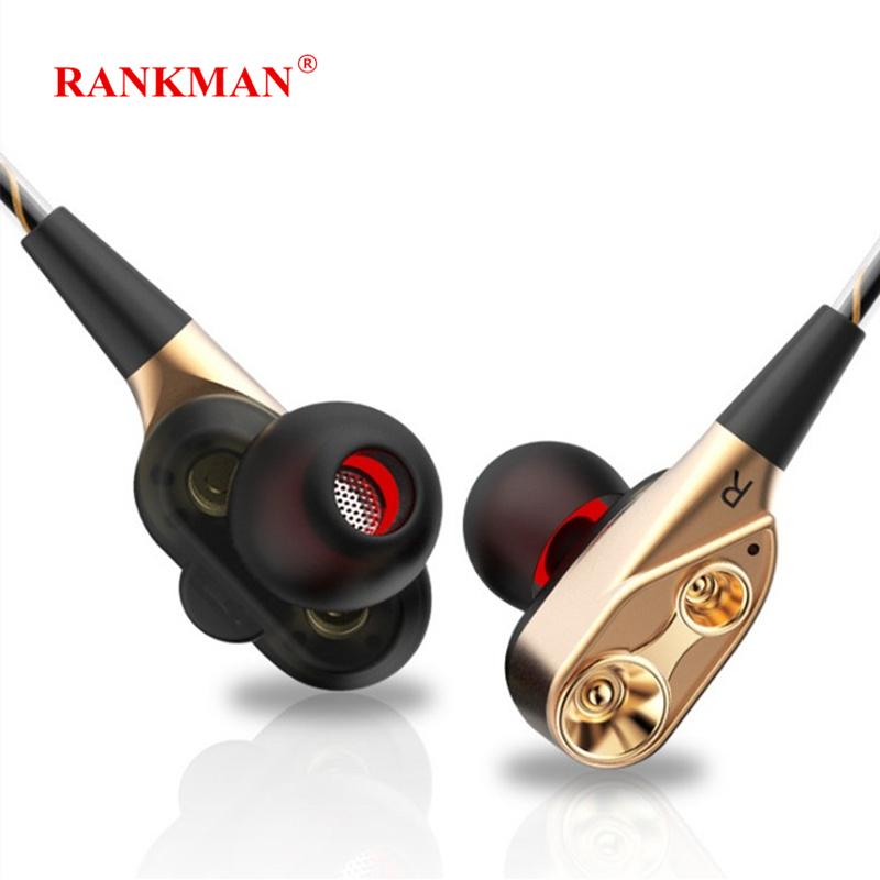 Rankman HiFi 3.5 Jack Earphone Sport Dual <font><b>Driver</b></font> Unit Earphones Stereo Bass Earbuds with Mic for PC Apple Xiaomi Phones MP3 image