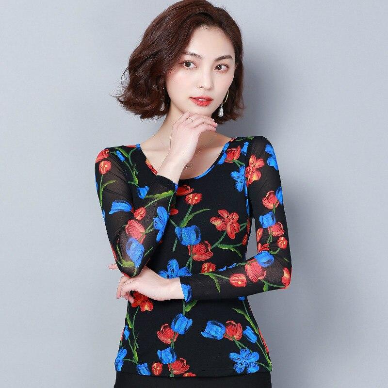 O Blusas Femmes Tops La Taille Picture Florla Blouse Plus Blouses Manches cou Imprimé Femme Color Chemise Maille Camisas Longues Shirt Femininas aw1YzY