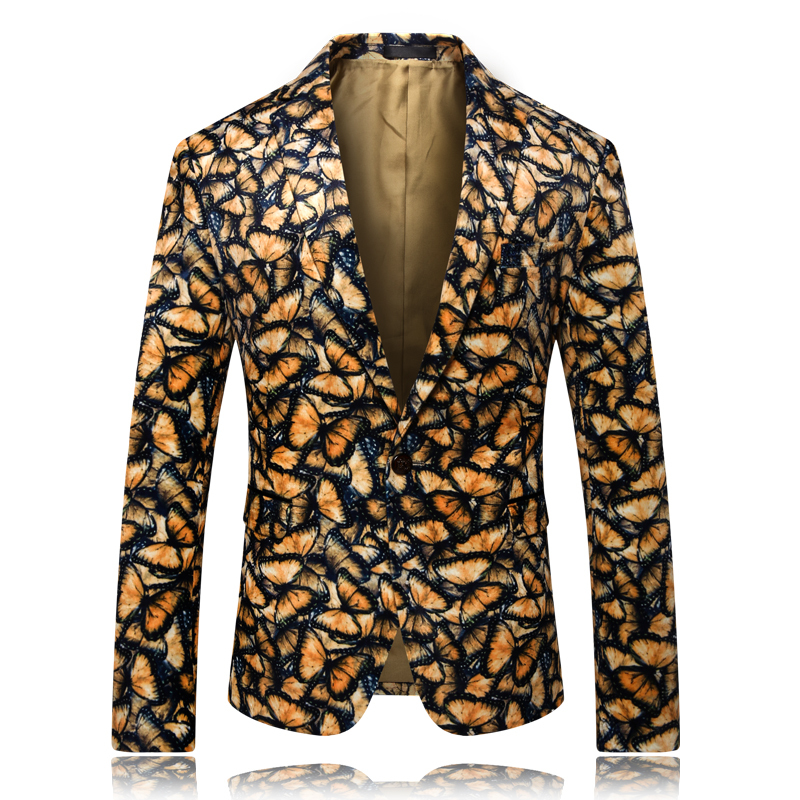 Brand New Men Blazer Long Sleeve Slim Fit One Button Blazer Fashion Yellow Butterfly Print Suit Men Jackets Jacket Plus Size 5XL