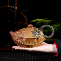 Raw Ore Dark red Enameled Pottery Teapot Jin Lin Seed Balsam Pear Imitate Old Kettle A Decoration Kettle Master Bottom Money