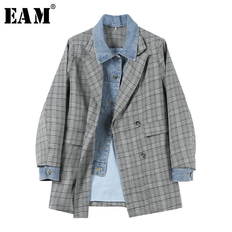 EAM 2019 New Spring Summer Lapel Long Sleeve Gray Hit Color Denim Plaid Printed Loose