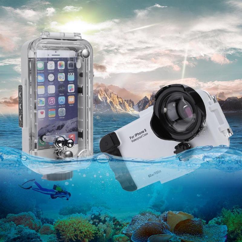 Boîtier en plastique ABS anti-poussière pour téléphone 60 m/197ft sous-marin IPX8 étanche boîtier de coque de téléphone de plongée pour iPhone 8