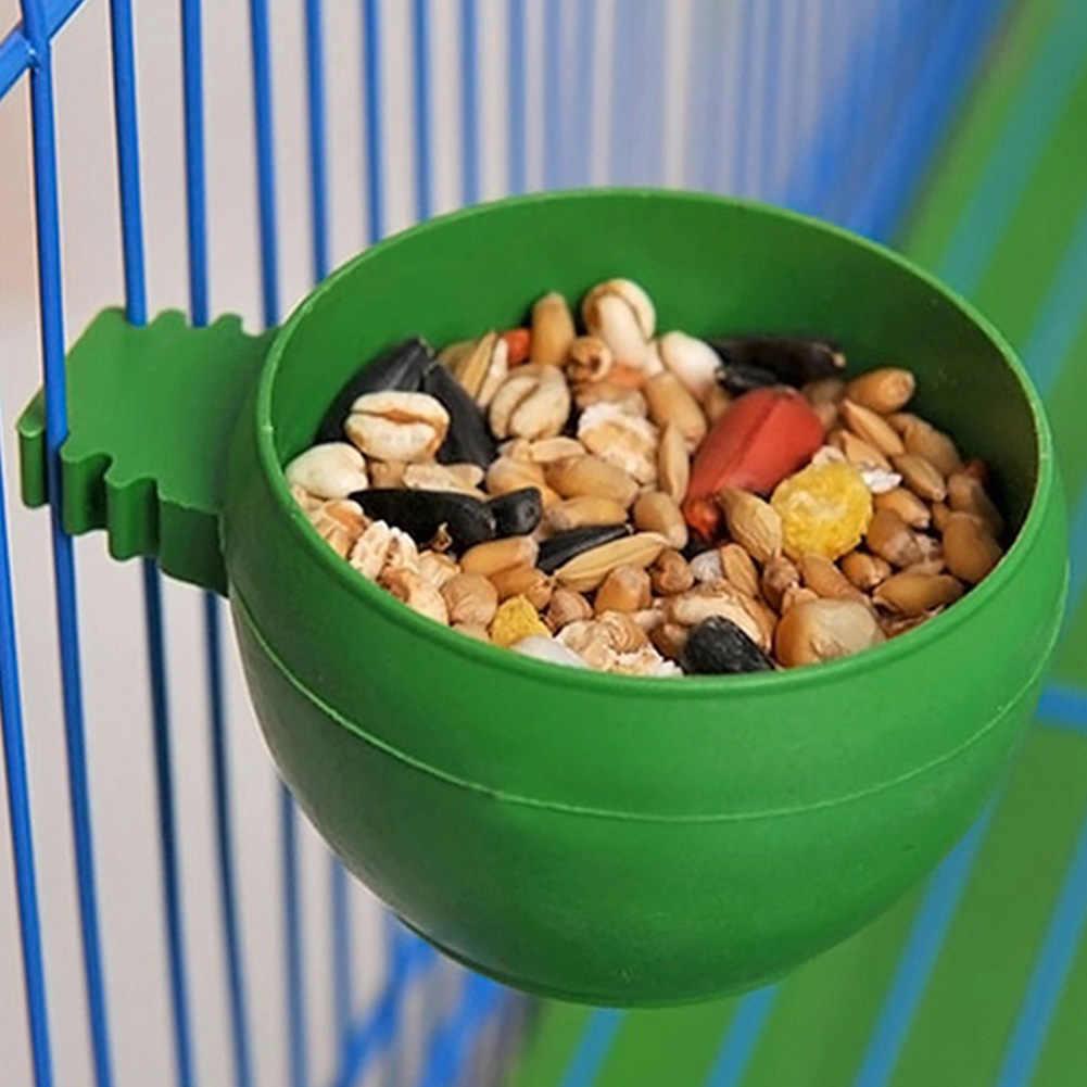EMVANV Mini Bird Parrot Food Water Bowl Feeder Plastic Pigeons Birds Cage Sand Cup Feeding Holder Green(green)