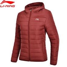 Li-Ning женские трендовые ватные куртки с капюшоном, полиэстер, обычная посадка, спортивная куртка с подкладкой AJMN016 WWM1708