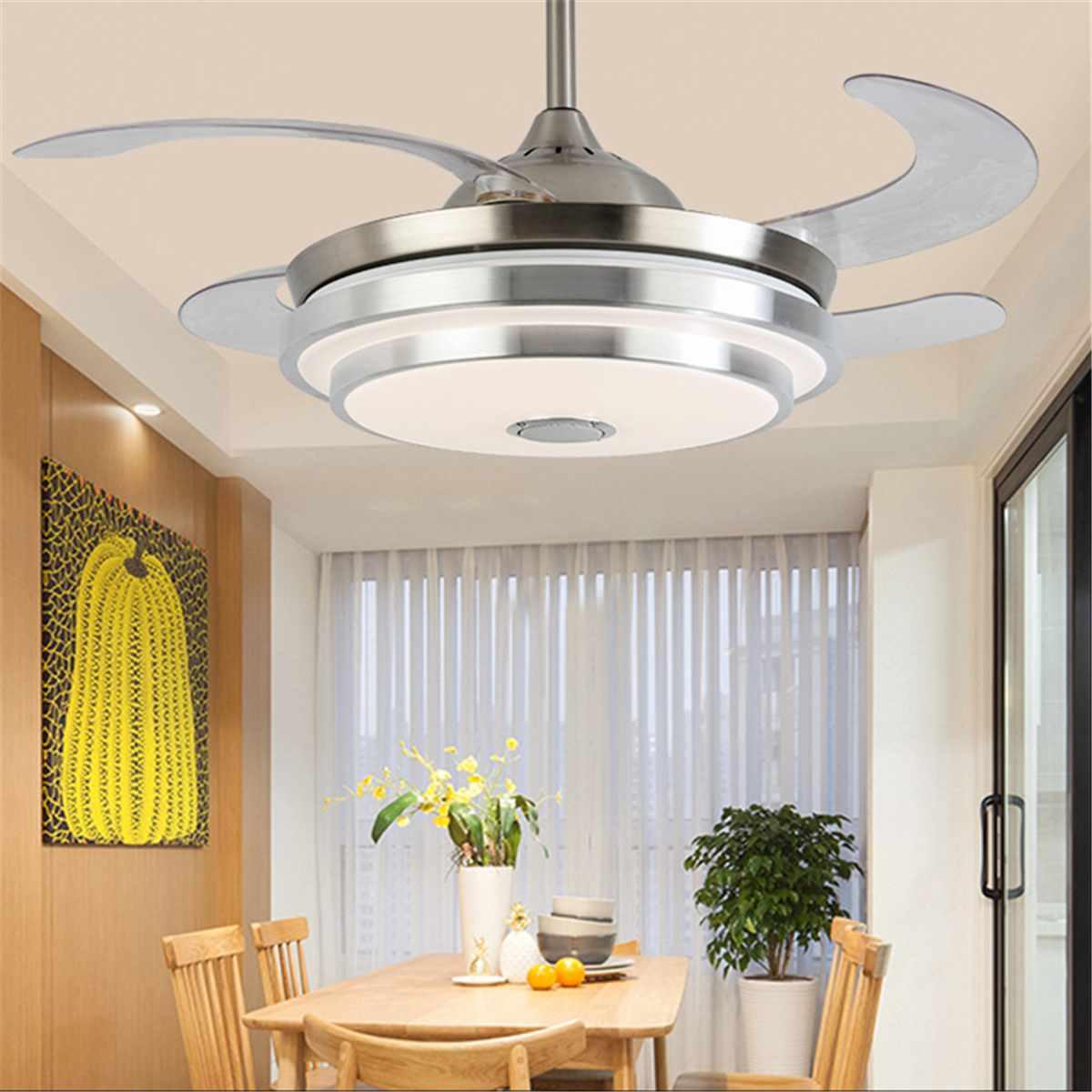 Moderna HA PORTATO A Soffitto Con La Luce Pieghevole Lampada Ventilatore A Soffitto Sala da pranzo Soggiorno 7 Cambiamento di Colore Musica APP Remote di controllo - 4