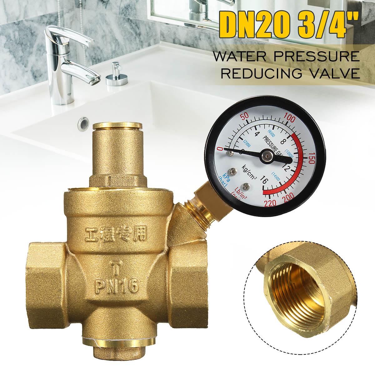 PN 1.6 Adjustable Water Pressure Regulator Reducer Brass DN20 NPT 3/4