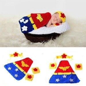 Super héros Crochet nouveau-né accessoires Photo tricoté infantile dessin animé Costume pour Photo Shoot bébé garçon vêtements photographie accessoires